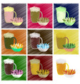 assembly flat shading style icons beer and nuts vector image vector image