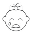 baby girl cry line icon emotion and child vector image
