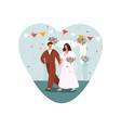 bride and groom walk to wedding ceremony vector image