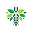 caduceus fork medical food restaurant leaf vegan vector image vector image