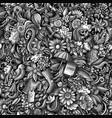 cartoon cute doodles hand drawn spring seamless vector image vector image