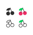 cherry fruit icons vector image vector image