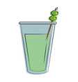 cocktail glass with olives as garnish icon image vector image
