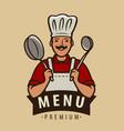cook logo or emblem restaurant menu cooking vector image vector image