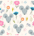 cute cartoon pattern with mouse heads and flowers vector image