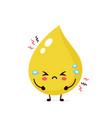 cute sad unhealthy urine drop vector image vector image