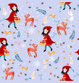 cute seamless pattern red hood girl and wild vector image vector image