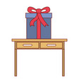 desk table with drawers front view with big gift vector image