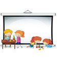 doodle kids on projector screen template vector image vector image