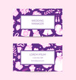 doodle wedding elements business card vector image