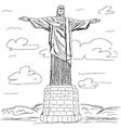 famous tourist destination Christ the redeemer Rio vector image vector image