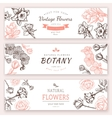 Flower vintage styled sketch banners vector image vector image