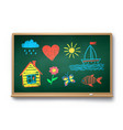 green chalkboard with kids drawing vector image vector image