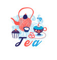 greeting card with cup of tea vector image vector image