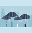 hands holding umbrellas while thunderstorm vector image