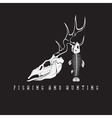 hunting and fishing vintage emblem with skulls of vector image