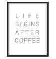 Inspirational quoteLife begins after coffee vector image vector image