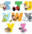 Joyful Cartoon Alphabet Collection 3 vector image vector image