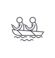 kayaking line icon concept kayaking linear vector image vector image