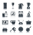 Kitchen Appliances Icons Black vector image vector image
