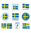 made in sweden labels set in kingdom vector image vector image
