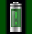 metal with glass battery green warning symbol vector image vector image
