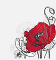 poppy frame card flower red black vector image