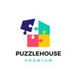 puzzle house logo icon vector image