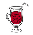 red cocktail in a shaped glass vector image