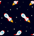 rocket space ship seamless pattern vector image