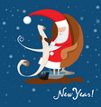 santa claus is reading letter new year wishes vector image vector image