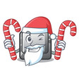 santa with candy button i isolated in cartoon vector image