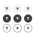 set 3 simple design winner cup icons rounded vector image