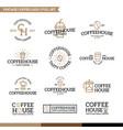 set coffee and tea logo combination vector image