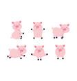 set cute pig wild animal character vector image