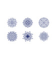 set hand drawn medieval round floral vector image
