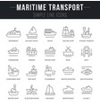 set line icons maritime transport vector image vector image