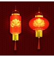 Set of red Chinese lanterns And round cylindrical vector image vector image