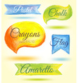 Set watercolor speech bubbles ribbons flags vector image