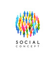 social conceptual emblem with round sign vector image vector image