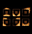 square frames fire flames burning borders vector image vector image
