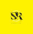 sr letter logo with vintage grundge drawing vector image vector image