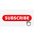 Subscribe web site red button with hand finger
