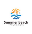 Summer beach sea logo and icon design