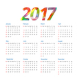 Template of calendar 2017 year vector image vector image