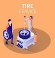 tire service in modern car repair automotive shop vector image vector image