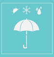 umbrella icon isolated on blue background vector image vector image