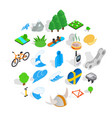 unity with nature icons set isometric style vector image vector image