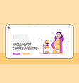 vacuum pot or syphon coffee making website landing vector image vector image