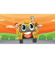 various animals in school bus vector image vector image
